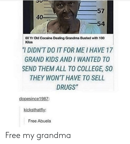 "College, Drugs, and Grandma: 57  40-  54  60 Yr Old Cocaino Dealing Grandma Busted with 100  Kilos  ""I DIDN'T DO IT FOR ME I HAVE 17  GRAND KIDS AND I WANTED TO  SEND THEM ALL TO COLLEGE, SO  THEY WON'T HAVE TO SELL  DRUGS""  dopesince1987:  kicksthatfly:  Free Abuela Free my grandma"