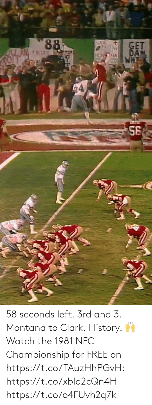 Championship: 58 seconds left. 3rd and 3. Montana to Clark. History. 🙌  Watch the 1981 NFC Championship for FREE on https://t.co/TAuzHhPGvH: https://t.co/xbla2cQn4H https://t.co/o4FUvh2q7k