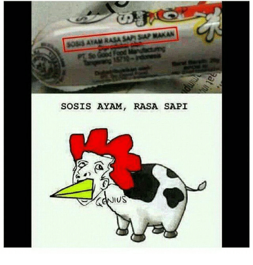 Indonesian (Language), Sap, and Ayam: 5O5I5 ATAM RASA SAP SAP MAKAN  SOSIS AYAM, RASA SAPI