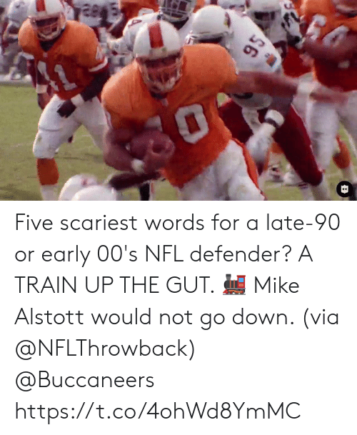 Memes, Nfl, and Train: $6 Five scariest words for a late-90 or early 00's NFL defender? A TRAIN UP THE GUT. 🚂  Mike Alstott would not go down. (via @NFLThrowback) @Buccaneers https://t.co/4ohWd8YmMC