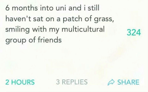 grass: 6 months into uni and i still  haven't sat on a patch of grass,  smiling with my multicultural  group of friends  324  2 HOURS  3 REPLIES  SHARE