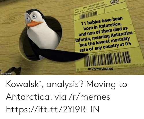 analysis: 60  061020a032  PO:  WMIT: 20330445o  11 babies have been  born in Antarctica,  and non of them died as  infants, meaning Antarctica  has the lowest mortality  rate of any count ry at 0%  c o0 12346 67890  imgflip.com  u/thewargingned Kowalski, analysis? Moving to Antarctica. via /r/memes https://ift.tt/2Yl9RHN