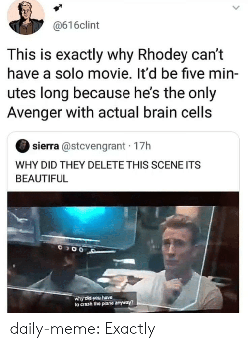 cells: @616clint  This is exactly why Rhodey can't  have a solo movie. It'd be five min-  utes long because he's the only  Avenger with actual brain cells  sierra @stcvengrant 17h  WHY DID THEY DELETE THIS SCENE ITS  BEAUTIFUL  why did you hava  to crash the plane anyway? daily-meme:  Exactly