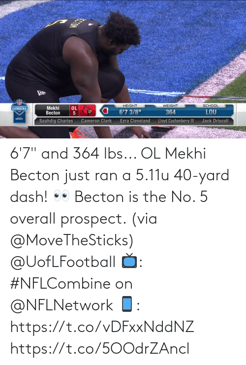 """yard: 6'7"""" and 364 lbs... OL Mekhi Becton just ran a 5.11u 40-yard dash! 👀   Becton is the No. 5 overall prospect. (via @MoveTheSticks) @UofLFootball  📺: #NFLCombine on @NFLNetwork 📱: https://t.co/vDFxxNddNZ https://t.co/5OOdrZAncl"""