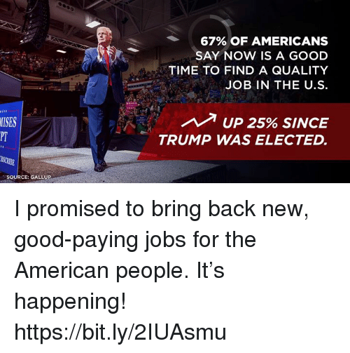 American, Good, and Jobs: 67% OF AMERICANS  SAY NOW IS A GOOD  TIME TO FIND A QUALITY  JOB IN THE U.S  MISES  PT  UP 25% SINCE  TRUMP WAS ELECTED.  SOURCE: GALLUP I promised to bring back new, good-paying jobs for the American people. It's happening! https://bit.ly/2IUAsmu