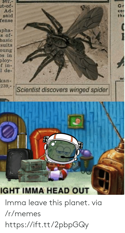 Suits: $67,  ut-of-  Ad-  said  fense  Gr  CO  the  apha-  s of-  basic  suits  oung  Ds in  ploy  f in-  1 de-  kan-  239,-  Scientist discovers winged spider  IGHT IMMA HEAD OUT Imma leave this planet. via /r/memes https://ift.tt/2pbpGQy