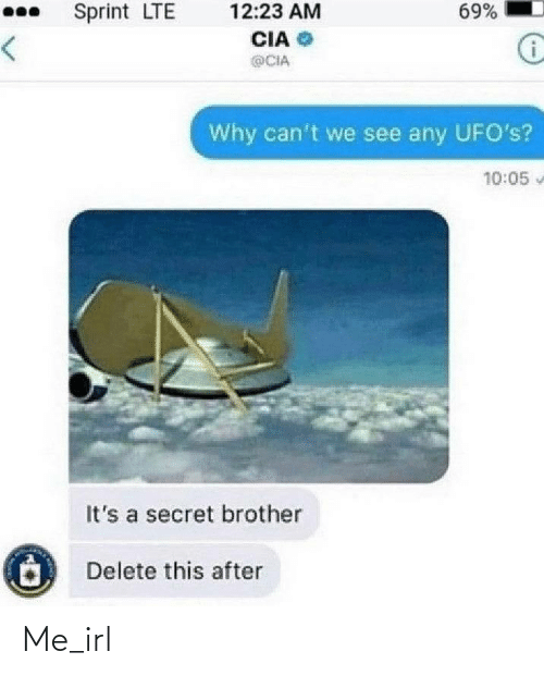 Sprint: 69%  Sprint LTE  12:23 AM  CIA  <>  @CIA  Why can't we see any UFO's?  10:05  It's a secret brother  Delete this after Me_irl