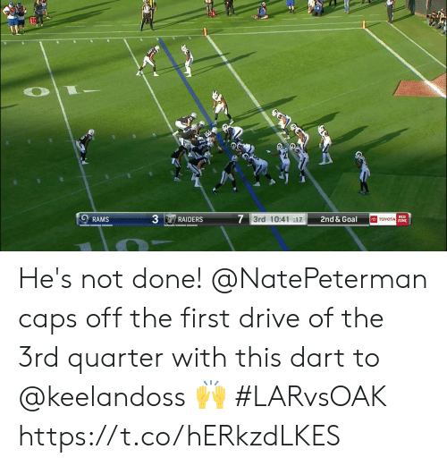 Toyota: 7 3rd 10:41 :17  RED  TOYOTA Z0NE  2nd & Goal  RAMS  RAIDERS He's not done!  @NatePeterman caps off the first drive of the 3rd quarter with this dart to @keelandoss 🙌  #LARvsOAK https://t.co/hERkzdLKES