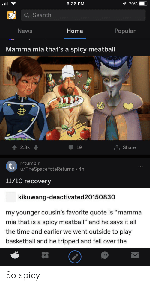"""News, Tumblr, and Home: 7 70%  5:36 PM  Q Search  News  Home  Popular  Mamma mia that's a spicy meatball  2.3k  19  Share  tr/tumblr  u/TheSpaceYoteReturns 4h  11/10 recovery  kikuwang-deactivated 20150830  my younger cousin's favorite quote is """"mamma  mia that is a spicy meatball"""" and he says it all  the time and earlier we went outside to play  asketball and he tripped and fell over the So spicy"""