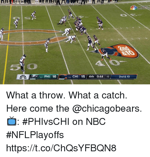 Memes, 🤖, and Nbc: 7 PHI 16  12-4 CHI15 4th 0:44 :13  2nd & 10  9-7 What a throw. What a catch.  Here come the @chicagobears.  📺: #PHIvsCHI on NBC #NFLPlayoffs https://t.co/ChQsYFBQN8