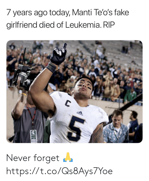 Fake, Football, and Nfl: 7 years ago today, Manti Te'o's fake  girlfriend died of Leukemia. RIP  C  Sppipo Never forget 🙏 https://t.co/Qs8Ays7Yoe