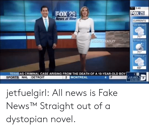 old boy: 71 548  FOX 29  News at Nine  FOX 29  CURRENTS  EANANTON  71  NW  JESSICA HEADLEY  71  KERRVILLE  69  TEXAS AS CRIMINAL CASE ARISING FROM THE DEATH OF A 10-YEAR-OLD BOY  CS  CARARIN  210-222-22  SPORTS NHL DETROIT  2 MONTREAL jetfuelgirl:  All news is Fake News™  Straight out of a dystopian novel.