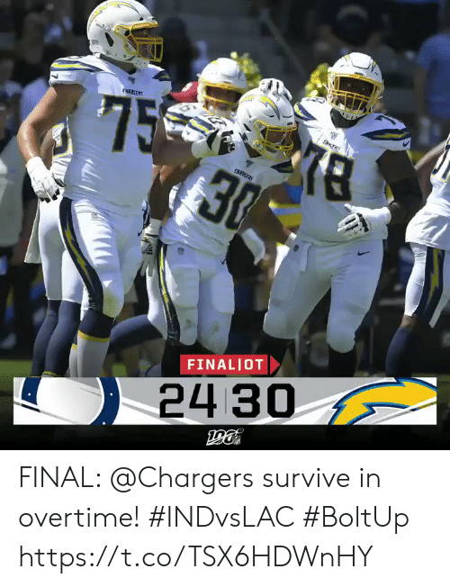 Memes, Chargers, and 🤖: '75  33  (ACERS  ENS  CHARGERS  FINALIOT  24 30 FINAL: @Chargers survive in overtime! #INDvsLAC #BoltUp https://t.co/TSX6HDWnHY
