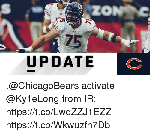 Memes, 🤖, and Chicagobears: 75  UPDATE .@ChicagoBears activate @Ky1eLong from IR: https://t.co/LwqZZJ1EZZ https://t.co/Wkwuzfh7Db