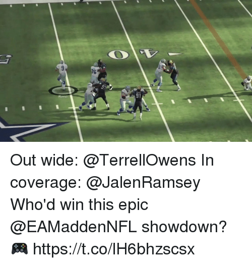 Showdown: 76  9p  Romo  91 Out wide: @TerrellOwens In coverage: @JalenRamsey  Who'd win this epic @EAMaddenNFL showdown? 🎮 https://t.co/lH6bhzscsx