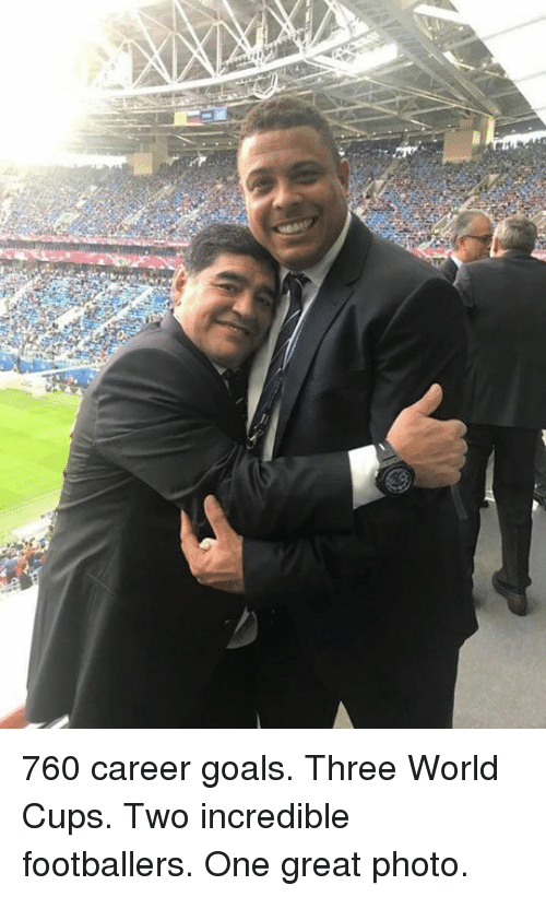 Goals, Memes, and World: 760 career goals. Three World Cups. Two incredible footballers. One great photo.