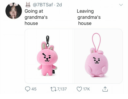 House, Leaving, and Grandmas: @7BTSaf 2d  Going at  grandma's  Leaving  grandma's  house  house  45  1.7,137  17K