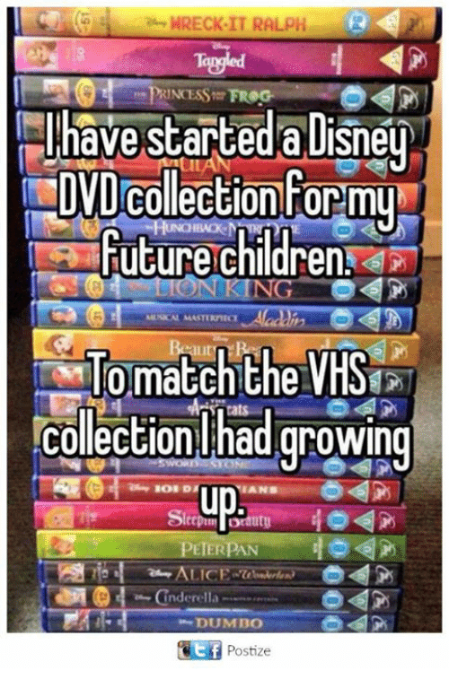 Dumbo: 7e WRECK IT RALPH R  PRINCESS FROG  have started a Disney  DVD Collection Formu  Future Children  ING  match the  VHS  Collection had growing  ANB  utU  PETERPAN  ALICE  Cinderella  DUMBO  Tit Postize