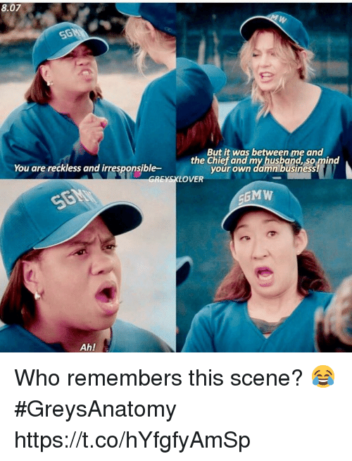 Memes, Business, and 🤖: 8.07  You are reckiess and iresponsible- the chigfr od my husbanlhssmind  REYSXLOVER  But it was between me and  your own damn business  MW  Ah! Who remembers this scene? 😂 #GreysAnatomy https://t.co/hYfgfyAmSp