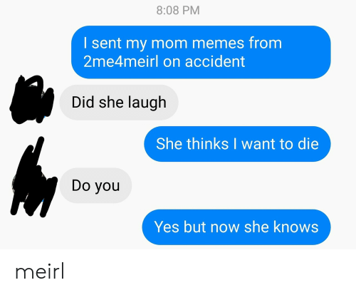 Memes, She Knows, and MeIRL: 8:08 PM  I sent my mom memes from  2me4meirl on accident  Did she laugh  She thinks I want to die  Do you  Yes but now she knows meirl
