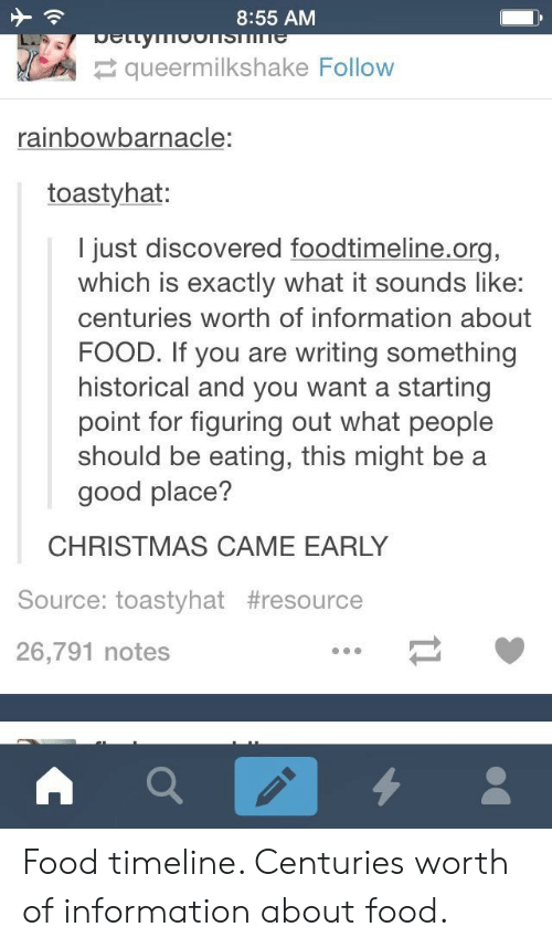 a-starting-point: 8:55 AM  wOonsT e  Detty  queermilkshake Follow  rainbowbarnacle:  toastyhat:  I just discovered foodtimeline.org,  which is exactly what it sounds like:  centuries worth of information about  FOOD. If you are writing something  historical and you want a starting  point for figuring out what people  should be eating, this might be a  good place?  CHRISTMAS CAME EARLY  Source: toastyhat #resource  26,791 notes Food timeline. Centuries worth of information about food.