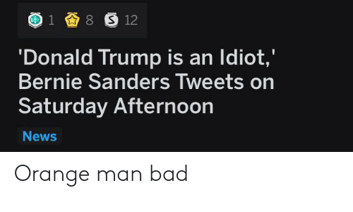 Bad, Bernie Sanders, and Donald Trump: 8 S 12  1  'Donald Trump is an Idiot,'  Bernie Sanders Tweets on  Saturday Afternoon  News Orange man bad