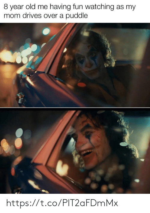 my mom: 8 year old me having fun watching as my  mom drives over a puddle https://t.co/PIT2aFDmMx
