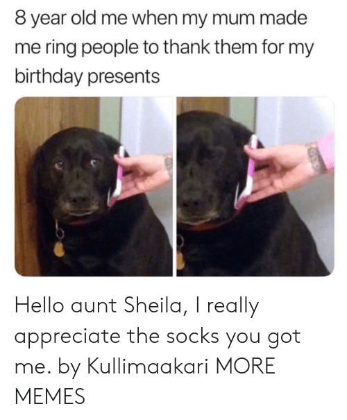 Birthday, Dank, and Hello: 8 year old me when my mum made  me ring people to thank them for my  birthday presents Hello aunt Sheila, I really appreciate the socks you got me. by Kullimaakari MORE MEMES