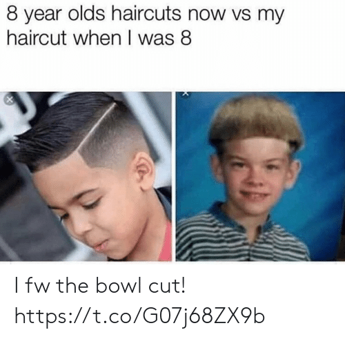 Funny, Haircut, and Haircuts: 8 year olds haircuts now vs my  haircut when I was 8 I fw the bowl cut! https://t.co/G07j68ZX9b