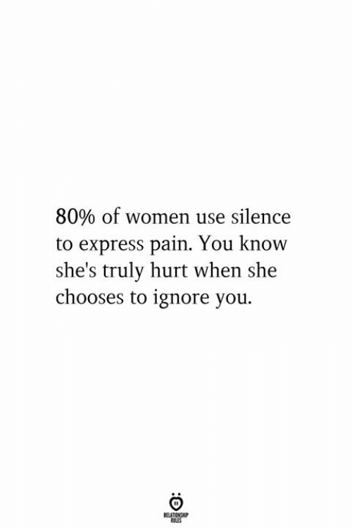 Express, Women, and Pain: 80% of women use silence  to express pain. You know  she's truly hurt when she  chooses to ignore you.