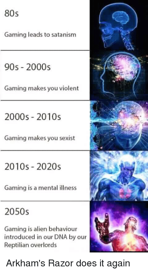 satanism: 80s  Gaming leads to satanism  90s 2000s  Gaming makes you violent  2000s 2010s  Gaming makes you sexist  2010s 2020s  Gaming is a mental illness  2050s  Gaming is alien behaviour  introduced in our DNA by our  Reptilian overlords Arkham's Razor does it again