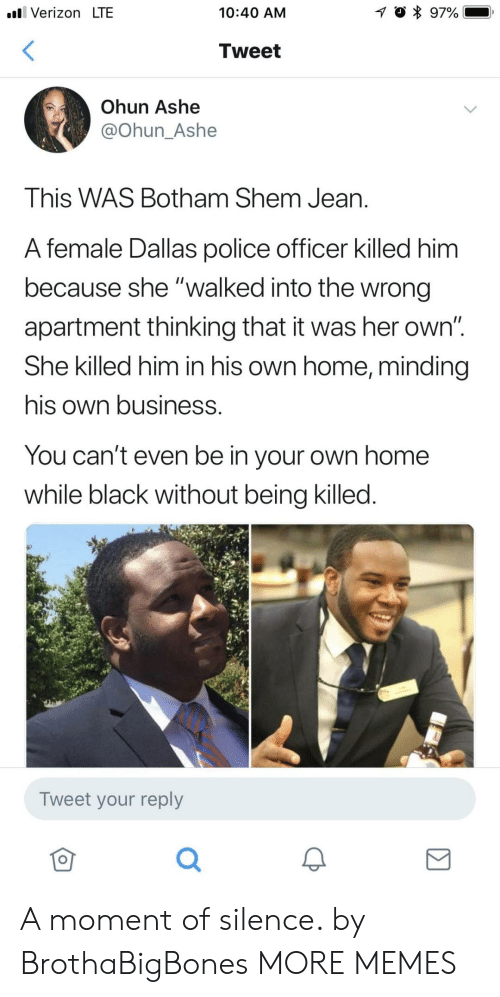 """Ashe:  #81 Verizon LTE  10:40 AM  Tweet  Ohun Ashe  @Ohun_Ashe  This WAS Botham Shem Jean.  A female Dallas police officer killed him  because she """"walked into the wrong  apartment thinking that it was her own""""  She killed him in his own home, minding  his own business.  You can't even be in your own home  while black without being killed.  Tweet your reply  仓 A moment of silence. by BrothaBigBones MORE MEMES"""