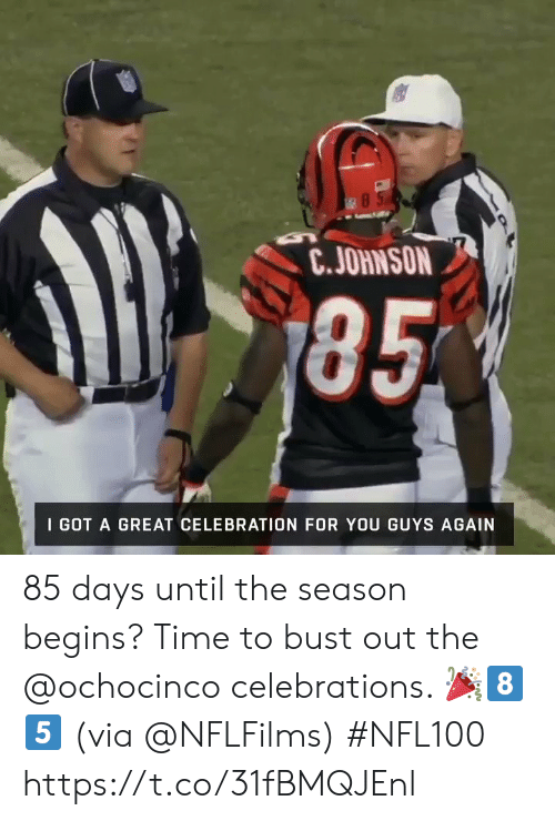 esmemes.com: 85  C.JOHNSON  185  I GOT A GREAT CELEBRATION FOR YOU GUYS AGAIN 85 days until the season begins?  Time to bust out the @ochocinco celebrations. 🎉8⃣5⃣ (via @NFLFilms) #NFL100 https://t.co/31fBMQJEnl
