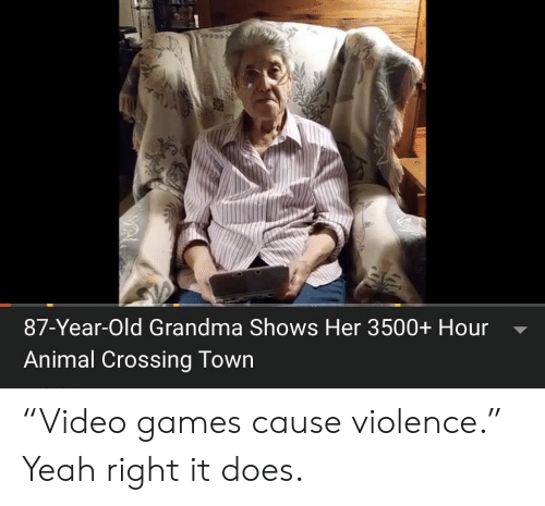 "Animal Crossing: 87-Year-Old Grandma Shows Her 3500+ Hour  Animal Crossing Town ""Video games cause violence."" Yeah right it does."
