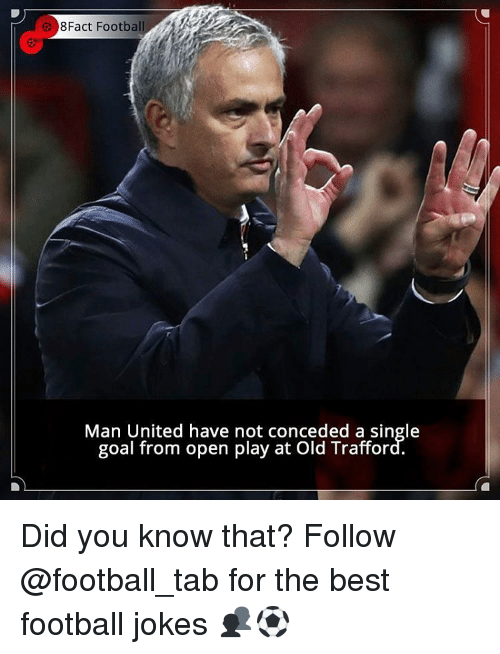 Goals, Memes, and Goal: 8Fact Footba  Man United have not conceded a single  goal from open play at Old Trafford. Did you know that? Follow @football_tab for the best football jokes 👥⚽️