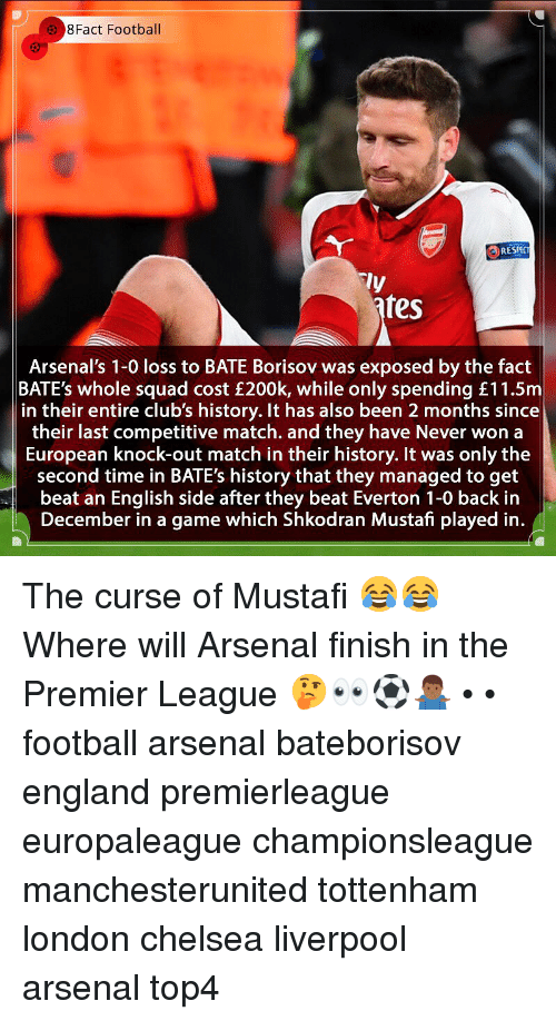 Arsenal, Chelsea, and England: 8Fact Football  RESPC  ly  fes  Arsenal's 1-0 loss to BATE Borisov was exposed by the fact  BATE's whole squad cost £200k, while only spending £11.5m  in their entire club's history. It has also been 2 months since  their last competitive match. and they have Never won a  European knock-out match in their history. It was only the  second time in BATE's history that they managed to get  beat an English side after they beat Everton 1-0 back in  December in a game which Shkodran Mustafi played in. The curse of Mustafi 😂😂 Where will Arsenal finish in the Premier League 🤔👀⚽️🤷🏾‍♂️ • • football arsenal bateborisov england premierleague europaleague championsleague manchesterunited tottenham london chelsea liverpool arsenal top4