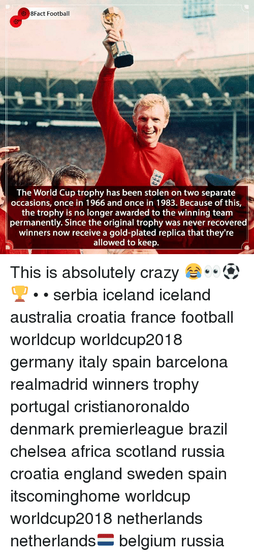 plated: 8Fact Football  The World Cup trophy has been stolen on two separate  occasions, once in 1966 and once in 1983. Because of this,  the trophy is no longer awarded to the winning team  permanently. Since the original trophy was never recovered  winners now receive a gold-plated replica that they're  allowed to keep. This is absolutely crazy 😂👀⚽️🏆 • • serbia iceland iceland australia croatia france football worldcup worldcup2018 germany italy spain barcelona realmadrid winners trophy portugal cristianoronaldo denmark premierleague brazil chelsea africa scotland russia croatia england sweden spain itscominghome worldcup worldcup2018 netherlands netherlands🇳🇱 belgium russia