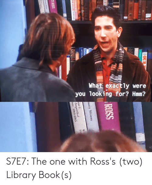 Deadman: 8N  ALre  What exactly were  you looking for? Hmm?  OUR  ROSS  DeadMan  LETTERS FR  Mangaret  DIDA AN.F SLVER ROS  MEAD  29 2-18  SS ROSS  iary Whi S7E7: The one with Ross's (two) Library Book(s)