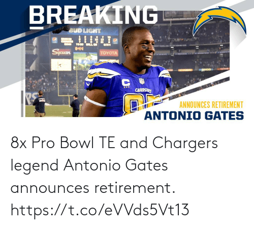 Antonio: 8x Pro Bowl TE and Chargers legend Antonio Gates announces retirement. https://t.co/eVVds5Vt13
