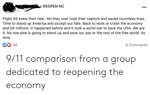 dedicated: 9/11 comparison from a group dedicated to reopening the economy