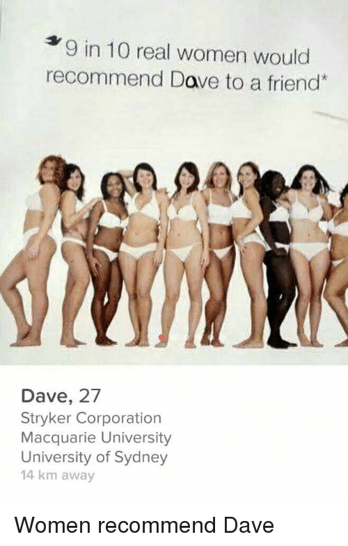 corporation: 9 in 10 real women would  recommend Dave to a friend  Dave, 27  Stryker Corporation  Macquarie University  University of Sydney  14 km away Women recommend Dave