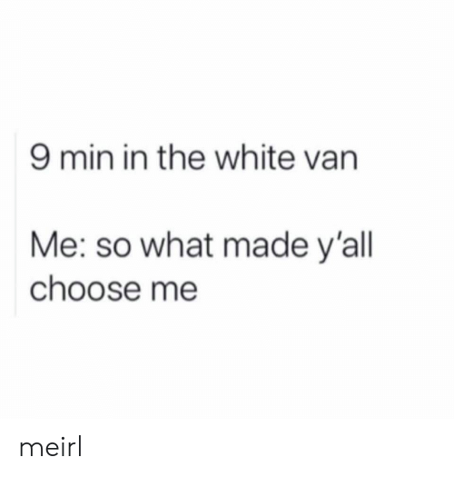 White, MeIRL, and Van: 9 min in the white van  Me: so what made y'all  choose me meirl