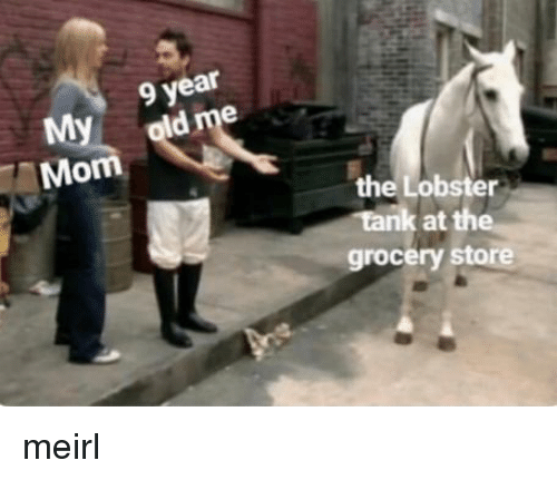 The Lobster: 9 year  My  Mom  the Lobster  grocery store meirl