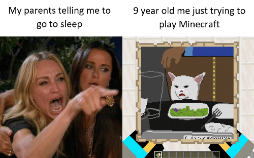 Telling Me: 9 year old me just trying to  My parents telling me to  play Minecraft  go to sleep