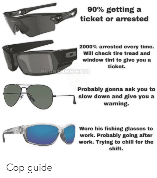 Chill, Work, and Glasses: 90% getting a  ticket or arrested  2000% arrested every time.  Will check tire tread and  window tint to give you a  ticket.  Probably gonna ask you to  slow down and give you a  warning.  Wore his fishing glasses to  work. Probably going after  work. Trying to chill for the  shift. Cop guide