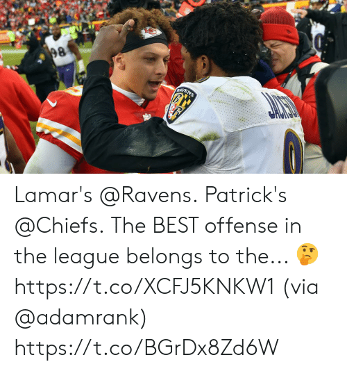 offense: 98  RAYENS Lamar's @Ravens. Patrick's @Chiefs.  The BEST offense in the league belongs to the... 🤔 https://t.co/XCFJ5KNKW1 (via @adamrank) https://t.co/BGrDx8Zd6W