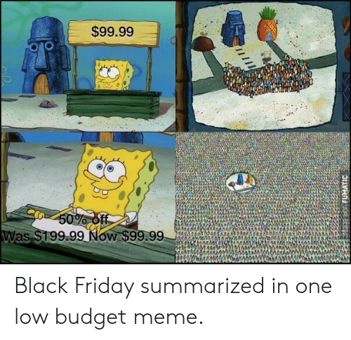 Low Budget: $99.99  9.99 Now $99.99,00000  ANN Black Friday summarized in one low budget meme.