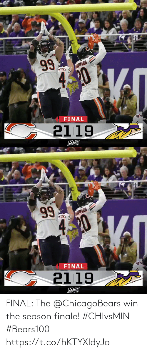 chicagobears: 99  CaAMARA  OSKI  420  FINAL  G 2119   Lσ )  99  αΙΝΑΑ  4.20  FINAL  2119  ε FINAL: The @ChicagoBears win the season finale! #CHIvsMIN #Bears100 https://t.co/hKTYXldyJo
