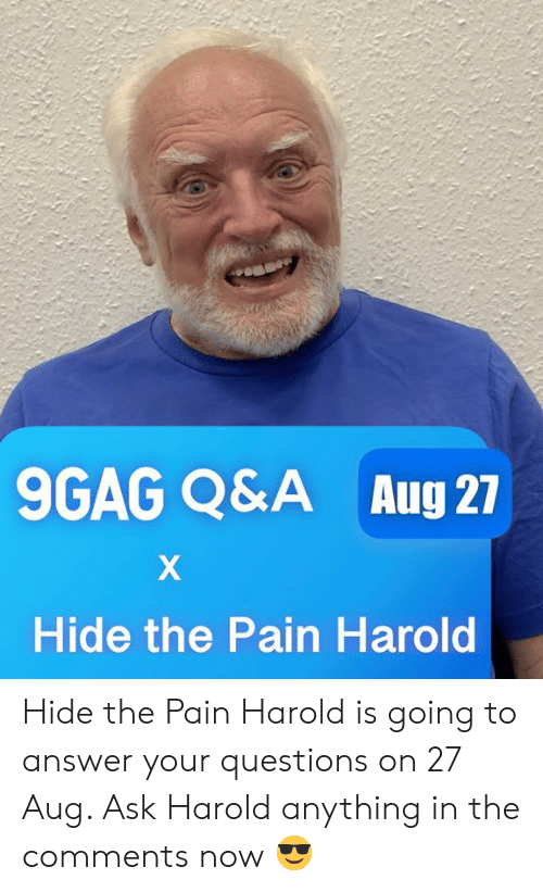 9gag, Dank, and Hide the Pain Harold: 9GAG Q&A  Aug 27  Hide the Pain Harold Hide the Pain Harold is going to answer your questions on 27 Aug. Ask Harold anything in the comments now 😎