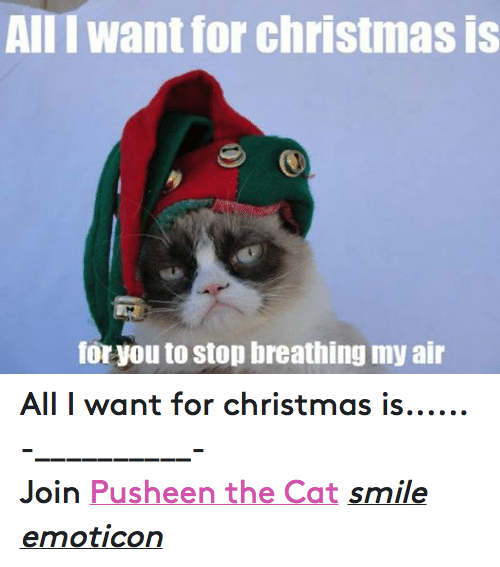 Cat Smiling: AIII want for christmas is  for you to stop breathing my air All I want for christmas is...... -__________- Join Pusheen the Cat smile emoticon